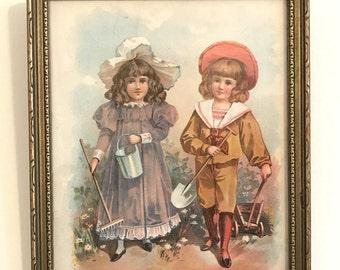 Framed Antique Garden Print: Two Children