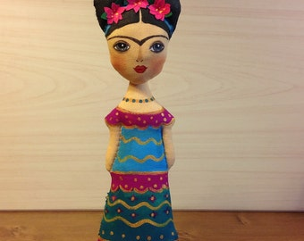 collectible Frida art doll Frida Kahlo art Mexican painter mexican artist Diego Rivera Mexican doll handcrafted human figure doll fabric