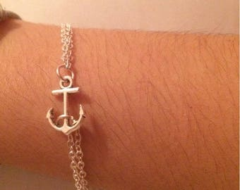 Anchor Bracelet, Friendship Bracelet, Silver Anchor Bracelet, Double layered Bracelet, Birthday Gift,Mothers Day Gift
