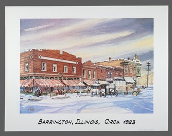 1990 Print Barrington Illinois Circa 1923 Print Kurka 20 x 26