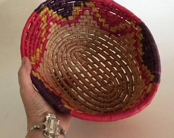 Banana Leaf Basket Coiled Basket Bowl Natural Decor Boho Basket Red Basket Vintage Basket Jungalow Basket Oval Basket Jungalow Decor