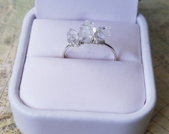 Dainty Silver Herkimer Diamond Ring / Small Ring / Minimalist Jewelry / Anniversary Gift / Birthday Gift