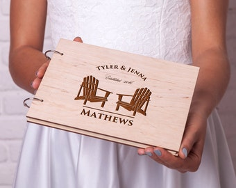 Wedding guestbook Rustic guest book Wooden guestbook Adirondack Chairs Retirement guest book Custom Engraved Personalized Wedding guest book