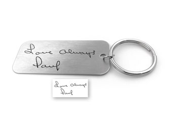 Handwriting Keychain, Signature Gifts, Memorial Gift, Handwritten Key Chain, Engraved Gifts, Personalized Gift, Real Signature Gift