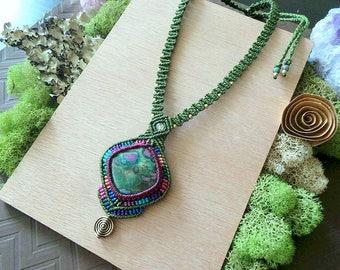 Macrame jewelry, Ruby in Fuchsite necklace, Macrame necklace, Elven jewelry, Festival jewelry, Hippie necklace, Strange Wilderness