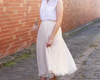 Vintage Blush Floaty Ballerina Skirt / Party Skirt / Pink Ballerina Skirt / M/L