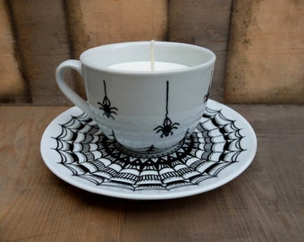 Hand painted, Hand made, Tea Cup Candle. Spider design
