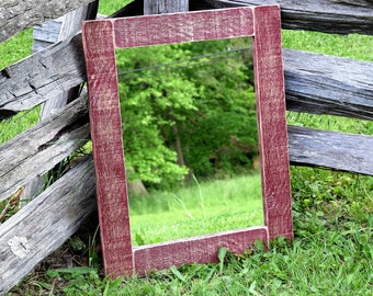 Red Reclaimed Mirror - Rustic Red Frame - Red Barnwood - Red Mirror