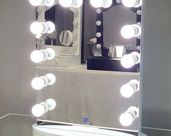Vanity Mirror With Lights And Plugs : Hollywood lighted vanity mirror-large makeup mirror with