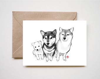 Three Little Shiba Inu, Unique Sumi-e Painting Print Card, Animal illustration B&W Asian Japanese Zen theme Dog lover Cute Ink Drawing