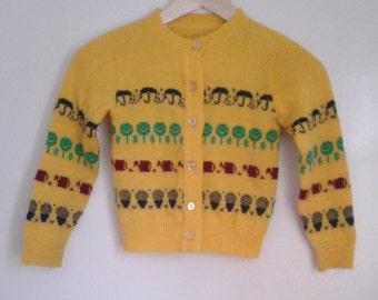 Vintage 1970's Yellow Knit Cardigan Sweater Smiley Face Trees Umbrellas Sz 4 5 Retro Hippie