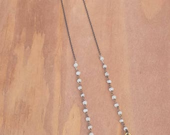 Amethyst Druzy Crystal Slice Pendant and Moonstone Rosary Beaded Oxidized Sterling Silver Chain Necklace