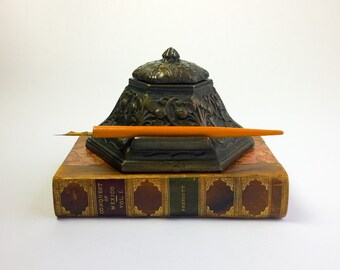 Very Large Arts & Crafts Style Bronze Inkwell