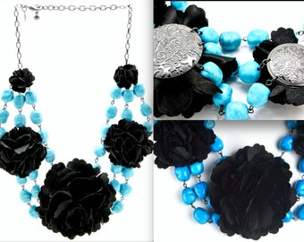 JOAN RIVERS Statement Turquoise Beads with Black Fabric Flower Necklace