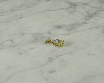 10k gold / White Topaz Pendant / Accent Diamonds