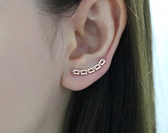 Textured chain ear climber, curved ear crawler, silver ear climber, gold ear climber, rose gold ear crawler, ear pin
