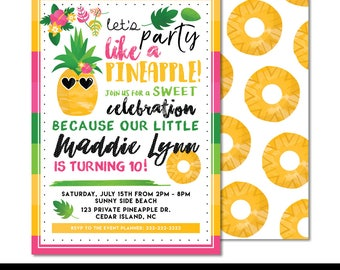 "Party Like a Pineapple Digital Printable Girls Summer Fruit & Floral Birthday Party 5x7"" Invitation PERSONALIZED"