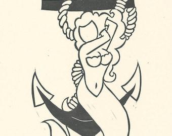 Mermaid - Linocut