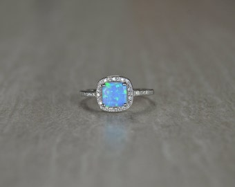 SALE Opal Ring: Women's Cubic Zirconia Band Sterling Silver CZ Ring