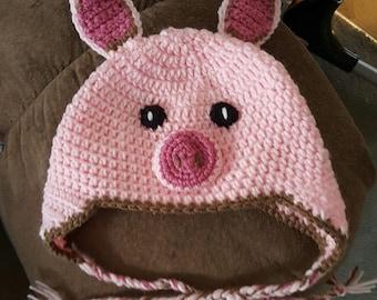Crochet Little Piggy Hat - Piglet Infant Photo Prop Set