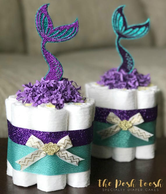 Little Mermaid Centerpiece Ideas Wedding: Mermaid Diaper Cake Baby Shower Decor Centerpiece Present