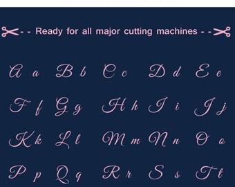 Great Vibes font letter monogram, font Alphabet Cuttable SVG DXF png jpg eps, Silhouette Studio, Cricut, Cameo.