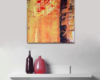 Original Abstract Art painting textured contemporary modern orange yellow brown distressed weathered unique autumn colour palette sunrise