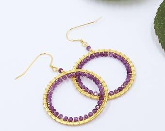 Amethyst and Gold Hoop Earrings   Gold Hoop Earrings   Gold Earrings   Gemstone Earrings   Hoops   Large Hoop Earrings   Gifts for Her