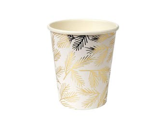 Gold Foil Party Paper Cups, Party Cups, fancy party cups, party paper cups, Gold paper cups,Gold disposible cups,Gold Pine Cups by Meri Meri