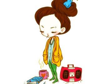 Bird Bun - 5 x 7 Print kawaii girl anime cute print bird radio journal big eyes tea coffee design illustration blue yellow secret love