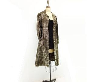 60s Gold Black Coat,  Gold Metallic Duster, Metallic Coat Dress, Vintage Silk Brocade, Luxury Damask Coat, XS/ xs