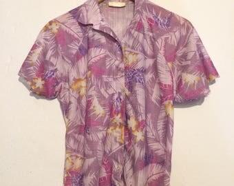 70s Women's Purple Hawaiian Polyester Button Down shirt size XL wt67934