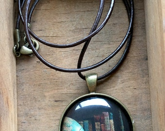 Globe and Books World Travel Necklace Wanderlust Gift for Traveler Earth Nation Graduation Mothers Day