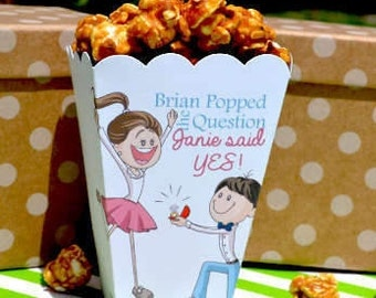 Popped the Question Popcorn Boxes | Kneeling Fiance Engagement Favor | Popcorn Box Favors | Popcorn Bar Personalized Favor Engagement Party