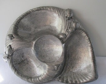 Arthur Court Nautilus Turtle Serving Dish Dip Chip Bowl, Vintage 1985 Signed Aluminum, Conch Snail Whimsical Retro Crudite and Sauce Server