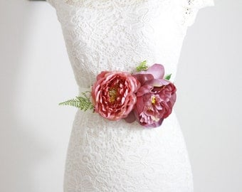 Wedding Sash Belt Bridal Sash Belt - Wedding Dress Sashes Belts - Rustic Sash Belt Flower Sash Belt Floral Belt Vintage Inspired Pink Flower