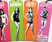 Set of 4 Bookmarks with Bronze Charms - James Bond 007 - Vintage Movie Poster - Handmade