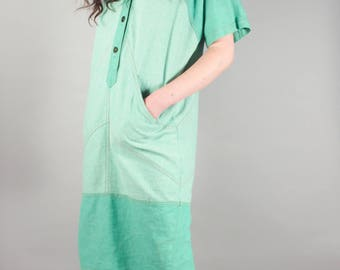 70's Avant Garde Pistachio Short Sleeve Shift Dress