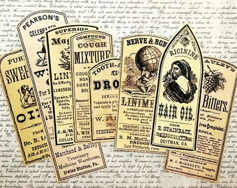 8 pcs. OLD MEDICINE LABELS - Vintage Pharmacy Bottle Labels, Medicine Liniments & Oils, Apothecary Stickers, Handmade Stickers, Reproduction