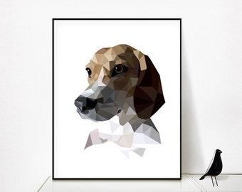 Custom Dog Portrait, Custom Dog Illustration Custom Pet Portrait Geometric Dog Portrait Personalized Pet Art Gift for Dog Lover Pet memorial