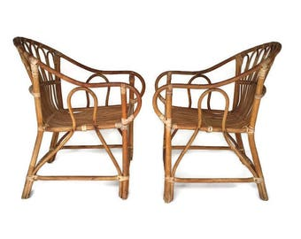 Vintage Bamboo Chairs Franco Albini Style PAIR Rattan Arm Chairs Set Mid Century Bamboo Chair Pair Matching Lounge Bohemian Decor Set Unique