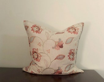 """Decorative Pillows, Multi-Color Embroidered Floral Pillows, Rust Pillow Cover, Available in One Size Only - 24""""x24"""" - READY TO SHIP"""