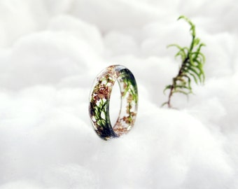 Moss ring gold ring gold flakes gift for her resin ring botanical ring nature ring moss necklace terrarium silver chain elven forest fairy