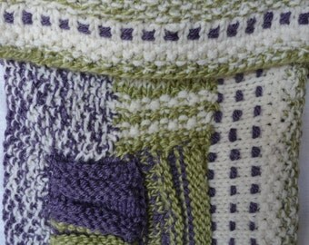 HandKnittedBag KnittedPurse PurpleGreenWhiteBag ShoulderBag WomansBag