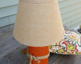 Mason Jar Lamp, Jar Lighting, Rustic Orange Table Lamp, Teen Girl Bedroom Decor, Mason Jar Lighting, Painted Mason Jar, Country Chic Lamp