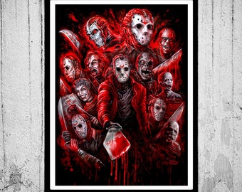 3 SIZES 12 Jasons (Many faces of) Jason Voorhees poster print Friday the 13th horror movie slasher by Scott Jackson