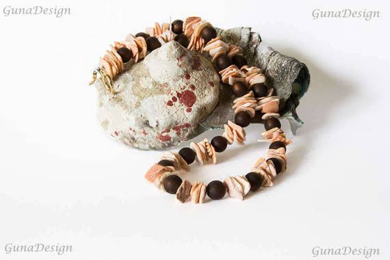 Light Pink Shell and Brown Glass Bead Necklace by GunaDesign