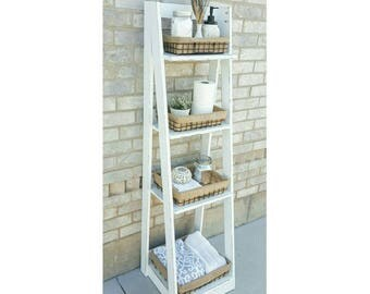 Tiered Ladder Shelf   Ladder Shelf   Bathroom Shelf   Bookcase   Wood Shelf    Plate