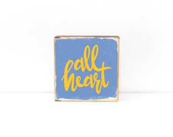 All Heart Memphis Grizzlies themed typography, blue and yellow + color options, Memphis, Tennessee, wood art - MADE TO ORDER