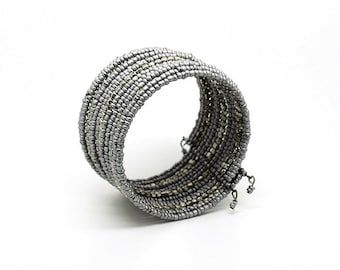 Gray and silver Cuff Bracelet